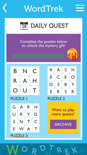 Word Trek - Word Brain streak - hand made puzzles screenshot